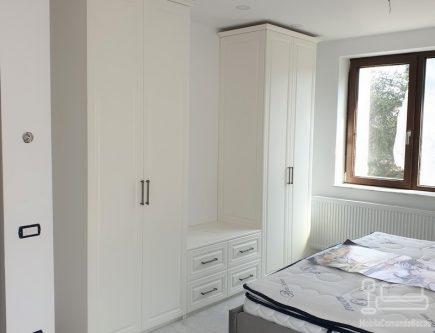 Mobila dormitor matrimonial MDF alb
