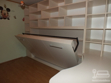 Dormitor pentru copii alb cu Pat Rabatabil D 076