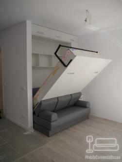 Mobilier de Dormitor alb cu Pat Rabatabil si Canapea D 228
