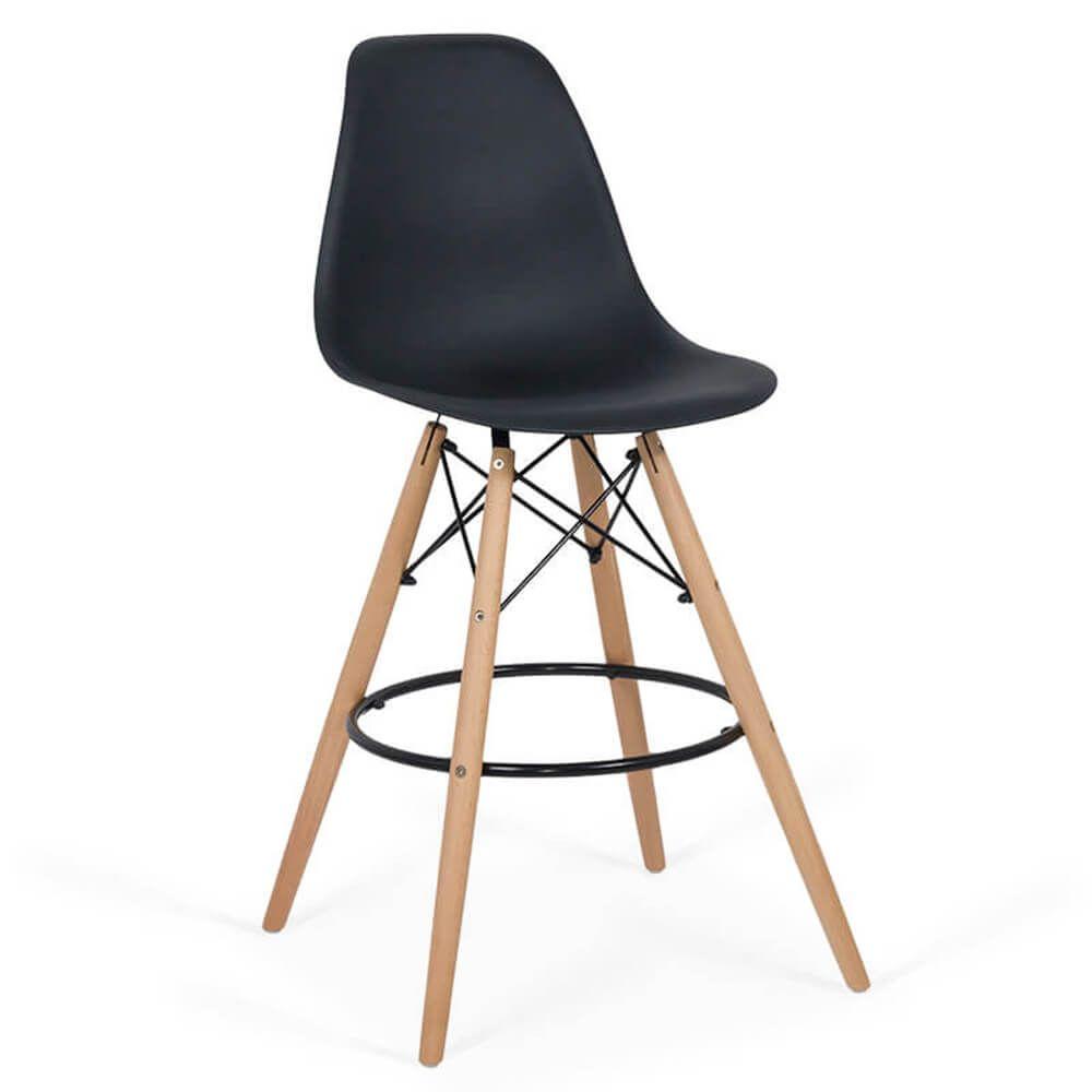 Scaun de bar cu picioare din lemn ABS 139 Negru