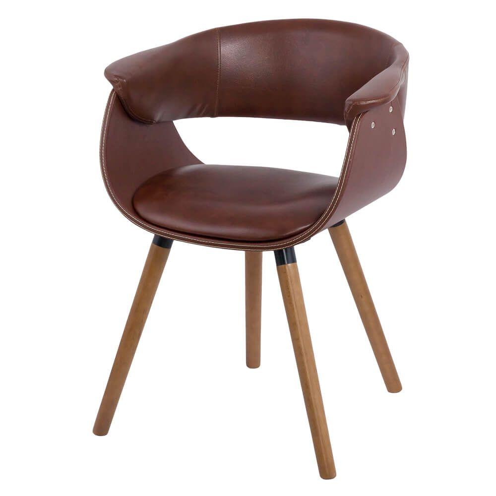 Scaun living modern tapitat si picioare din lemn BUC 021 Maro
