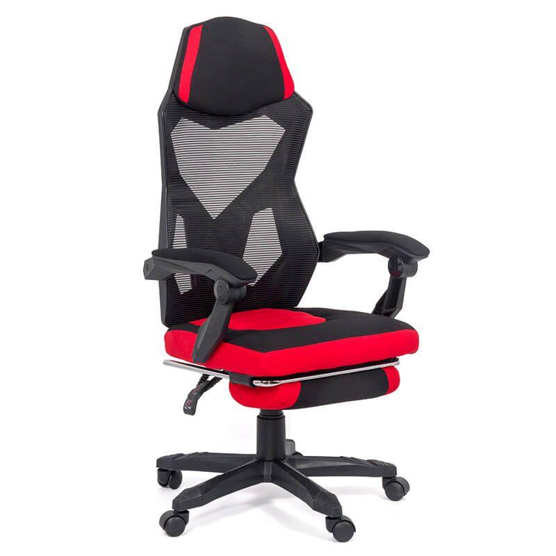 Scaun gaming rosu cu suport picioare OFF 304 Negru