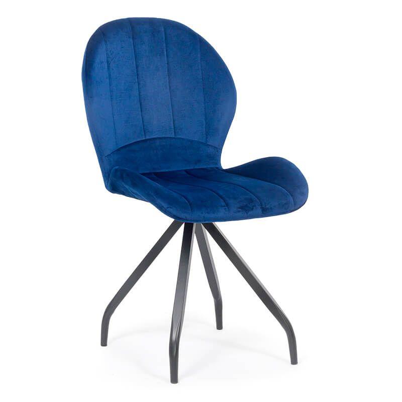 Scaun cafenea din catifea si picioare metalice BUC 205 Albastru